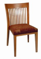 Alaska Wooden Slatted Back Side Chair with Upholstered Seat
